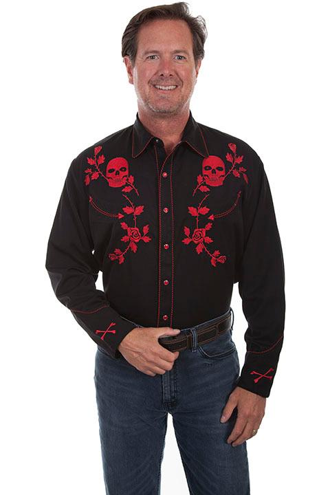 Scully Men's Vintage Western Shirt: Skulls and Roses Red Backordered