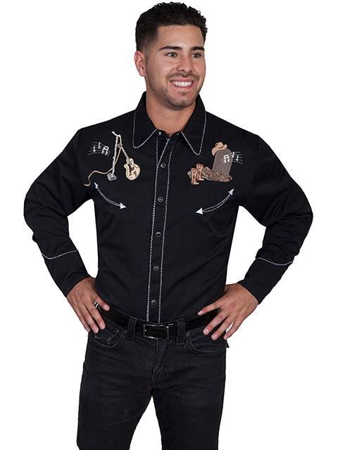 Scully Men's Vintage Western Shirt: A Musical Skeleton