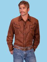 ZSold Scully Men's Western Shirt: An Ultra Suede Brown 4XL SOLD