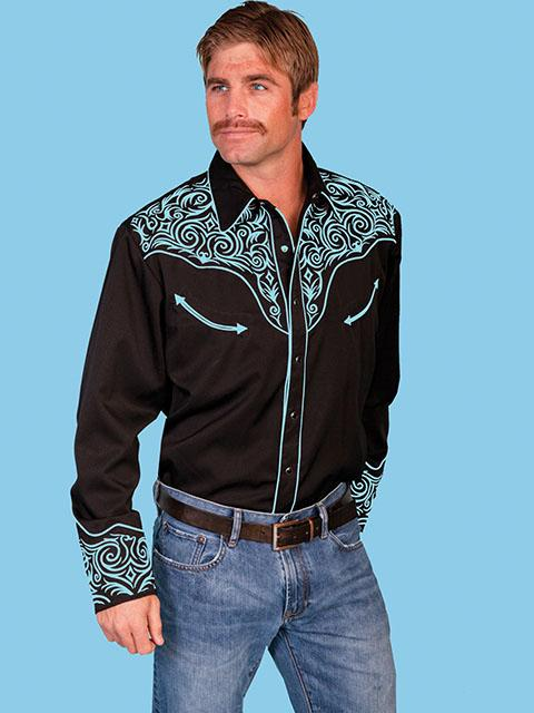Scully Men's Vintage Western Shirt: Fancy Embroidery Black with Turquoise S-2X Big/Tall 3X-4X