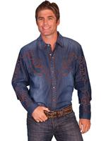 Scully Men's Vintage Western Shirt: A Blue Denim with Brown Embroidery S-2XL NEW