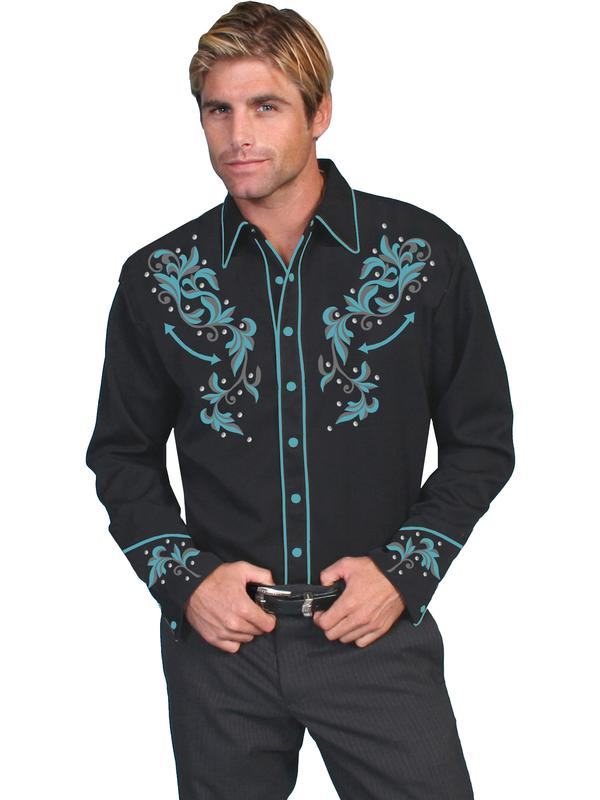 Scully Men's Vintage Western Shirt: Embroidery with Crystals Black