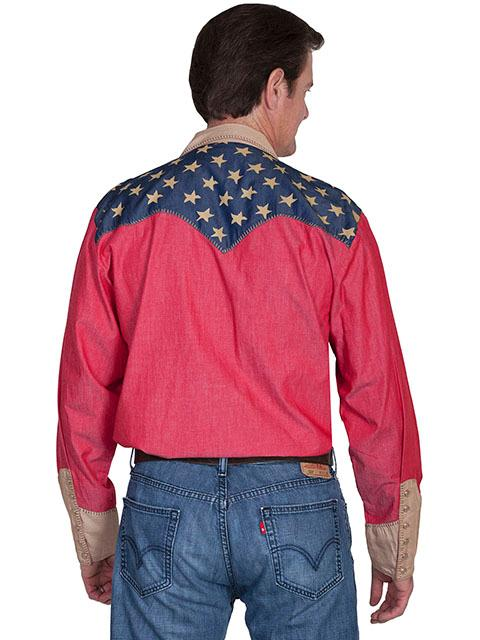 Scully Mens Vintage Western Shirt Patriot Shirt With Pic