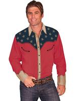 Scully Men's Vintage Western Shirt: Patriot Shirt with Pic Stitch Red L