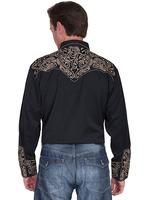 Scully Men's Vintage Western Shirt: Embroidered Scroll Shirt Black