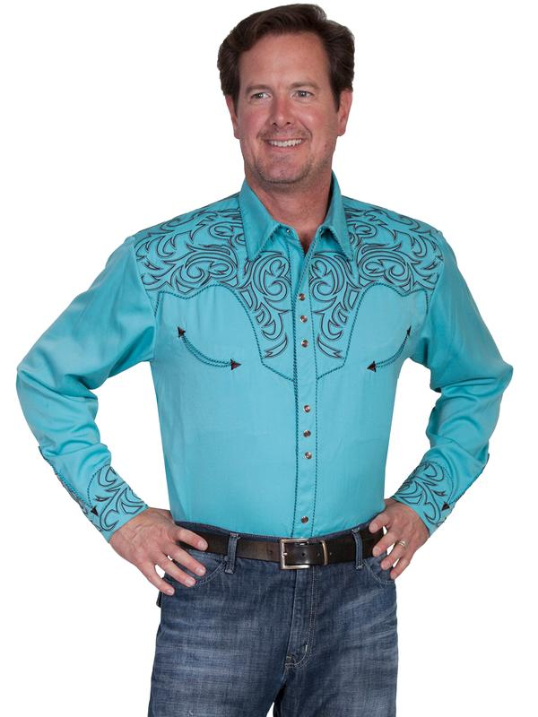 Scully Men 39 S Vintage Western Shirt A Embroidered Scroll