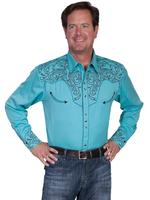 ZSold Scully Men's Vintage Western Shirt: A Embroidered Scroll Shirt Turquoise M-2X Big/Tall 3X-4 SOLD