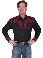 Scully Men's Vintage Western Shirt: Embroidered Scroll Shirt Red on Black  S-2X Big/Tall 3X-4X
