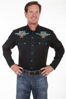 Scully Men's Vintage Western Shirt: A Fleur de Lis Embroidery S-2X, Big/Tall 3X-4X