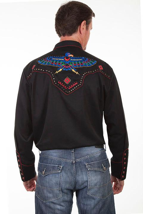 Scully Men's Vintage Western Shirt: A Embroidered Thunderbird S-2X, Big/Tall 3X-4X