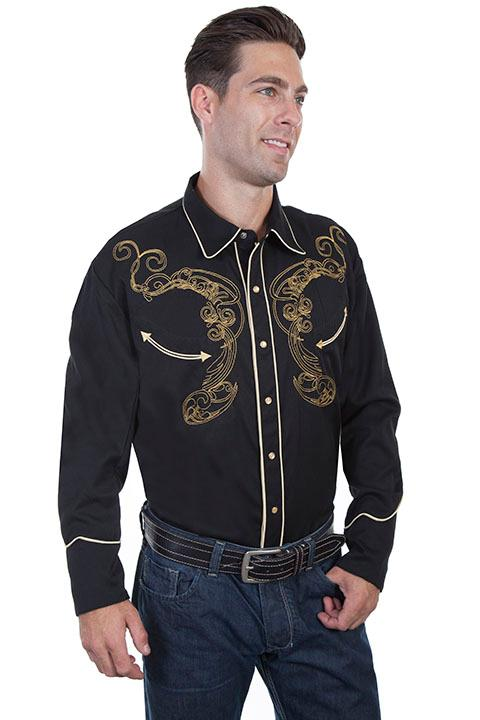 Scully Men's Vintage Western Shirt: A Skull and Snake