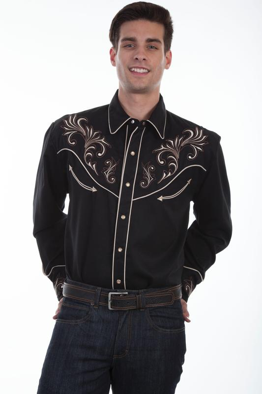 Scully Men's Vintage Western Shirt: A Floral Scrolls