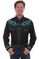 Scully Men's Vintage Western Shirt: A Turquoise Scroll