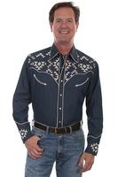 Scully Men's Vintage Western shirt: A Aztec Geometric Embroidery Denim SALE