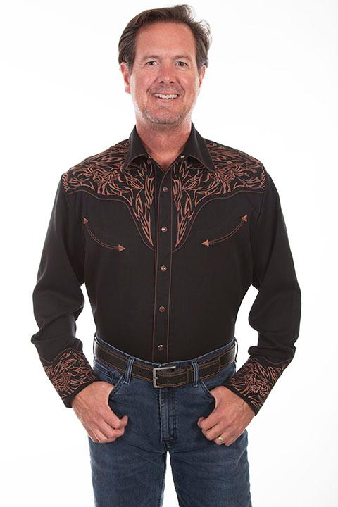 Scully Men's Vintage Inspired Western Shirt: A Fancy Scrolls on Black