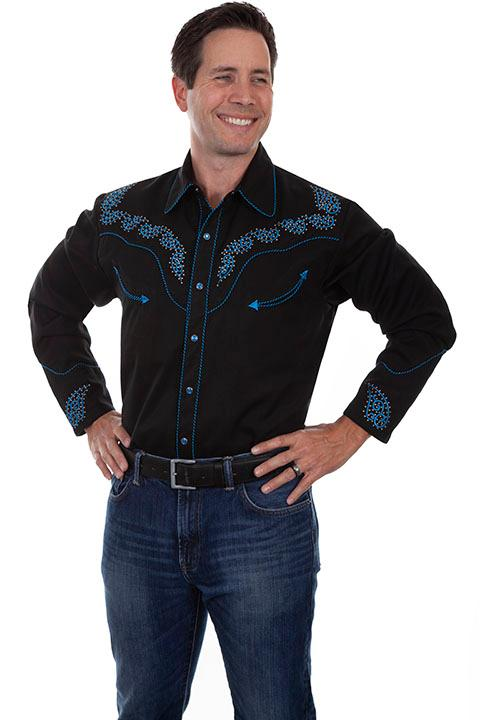 Scully Men's Vintage Western Shirt: A Embroidered Paisley Design