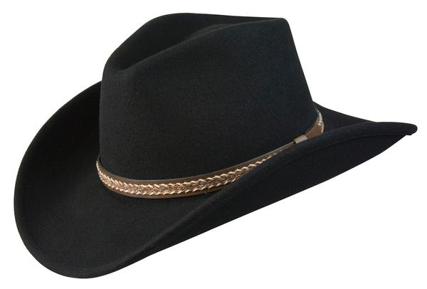 Conner Handmade Hats Cowboy Western Style: Wool with Hat Band Horse Hair Style Black