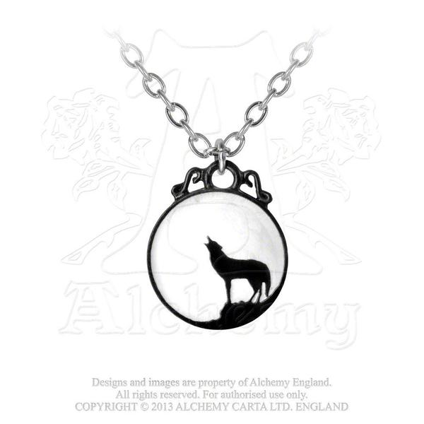 Alchemy Necklace Gothic: Wolf Pendant on Chain