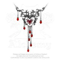 ZSold Alchemy Necklace Gothic: Bleeding Heart with Skull and Crystals Sold