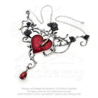 Alchemy Necklace Gothic: Heart on a Bed of Roses