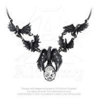 Alchemy Necklace Gothic: Murder of Crows with Crystals