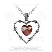 ZSold Alchemy Necklace Gothic: Love Imprisoned In Barbed Wire Heart Pendant SOLD