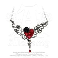 Alchemy Necklace Gothic: Blood Rose Heart Pendant