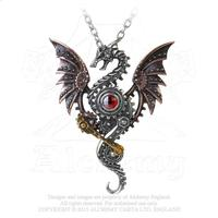 Alchemy Necklace Steampunk: Blast Furnance Dragon Pendant