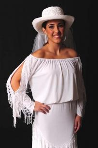 Ann N Eve Collection: Western Wedding Blouse Peasant Lacy Top White 1XL - 3XL