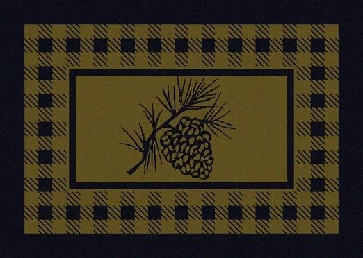 American Dakota Rug: Cabin & Camp Collection Refuge Pine Cone Green 3x4 Scatter Drop Ship