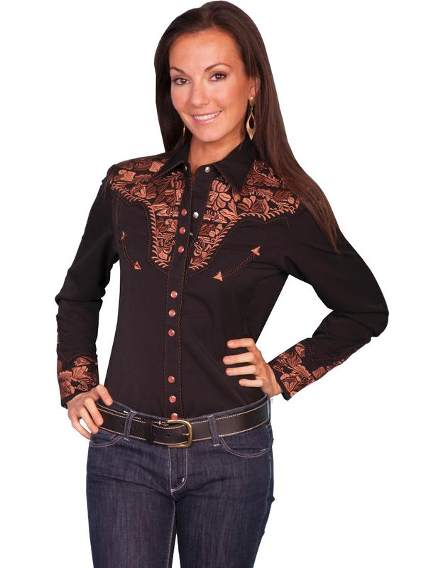 A Scully Ladies' Vintage Western Shirt: The Gunfighter Black with Rust Backordered
