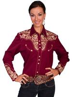 ZSold Scully Ladies' Vintage Western Shirt: The Gunfighter Burgundy with Gold S SOLD