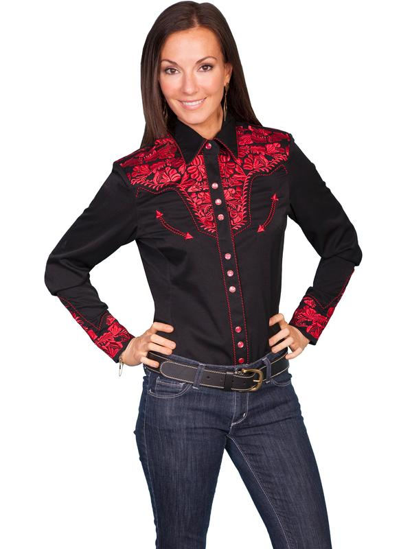 A Scully Ladies' Vintage Western Shirt: The Gunfighter Black with Crimson XS-XL