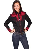A Scully Ladies' Vintage Western Shirt: The Gunfighter Black with Crimson