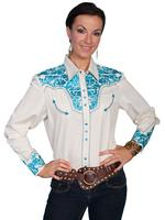 ZSold Scully Ladies' Vintage Western Shirt: The Gunfighter Cream with Turquoise S-XL SOLD