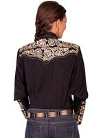 A Scully Ladies' Vintage Western Shirt: The Gunfighter Black with Gold Large