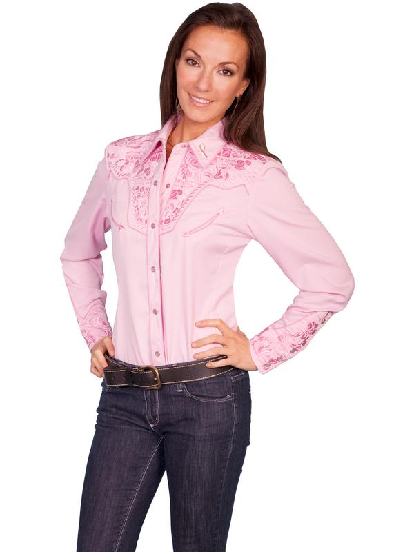 A Scully Ladies' Vintage Western Shirt: The Gunfighter Pink on Pink Backordered