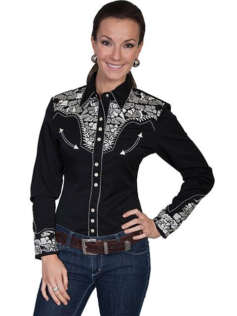 A Scully Ladies' Vintage Western Shirt: The Gunfighter Black with Silver