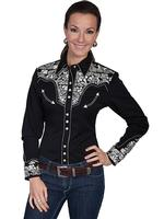 A Scully Ladies' Vintage Western Shirt: The Gunfighter Black with Silver Back Ordered