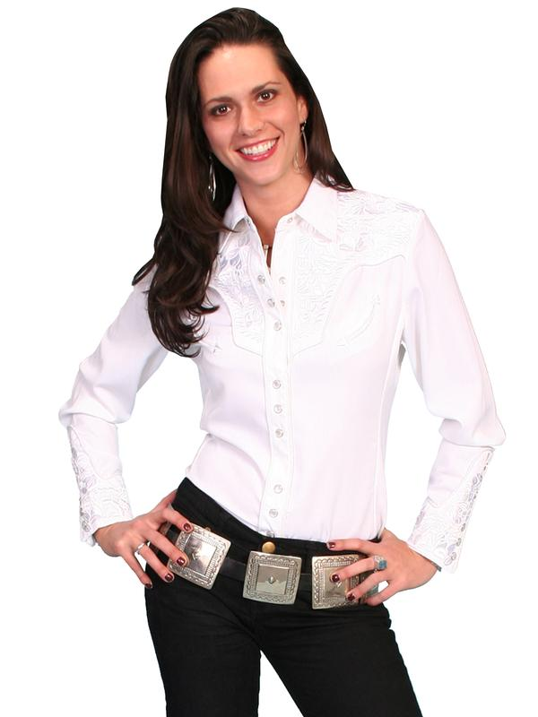 8a5b97a2202 A Scully Ladies  Vintage Western Shirt  The Gunfighter White on White