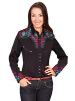 ZSold Scully Ladies' Vintage Western Shirt: The Gunfighter Black with Multi Colors XS SOLD