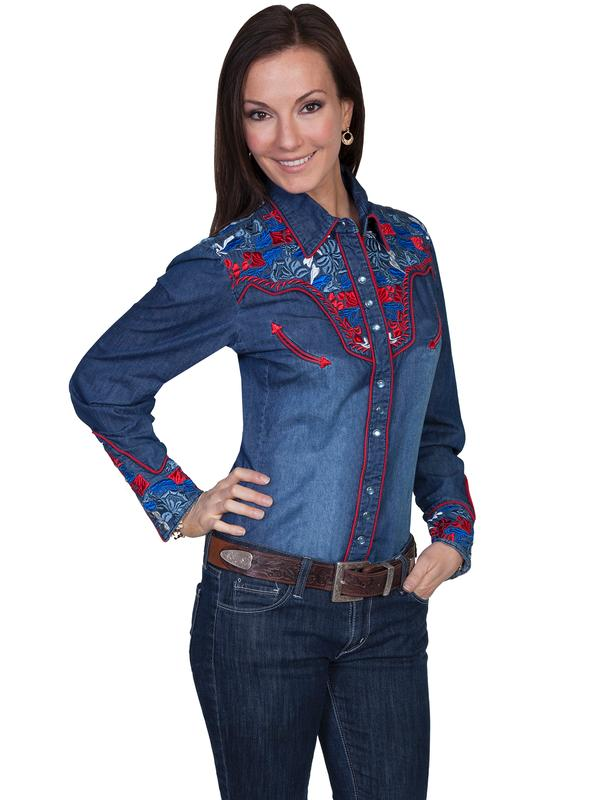 A Scully Ladies' Vintage Western Shirt: The Gunfighter Denim with Multi Colors XS-2XL