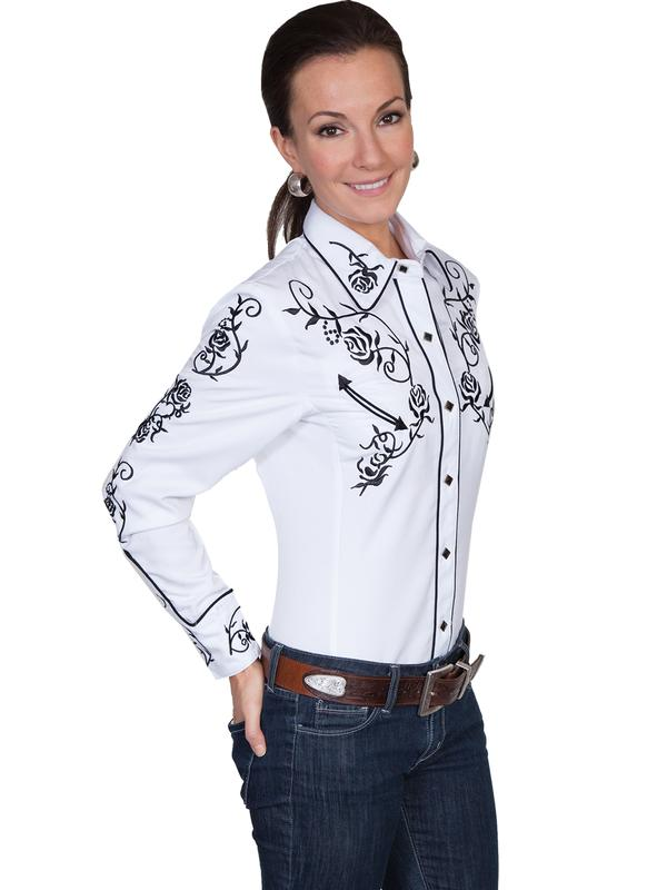 A Scully Ladies' Vintage Western Shirt: Black Roses on White Back Ordered