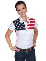 A Scully Ladies' Western Shirt: The Patriot Stars and Stripes Short Sleeve