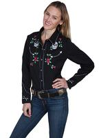 A Scully Ladies' Vintage Western Shirt: Skulls and Roses