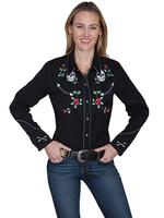 A Scully Ladies' Vintage Western Shirt: Skulls and Roses Backordered
