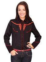 ZSold Scully Ladies' Vintage Western Shirt: Longhorn on Black S-L SOLD