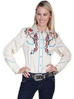 A Scully Ladies' Vintage Western Shirt: Horse and Flowers Embroidery Colorful on Cream