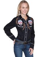 A Scully Ladies' Vintage Western Shirt: A Sugar Skull Embroidery Black SALE