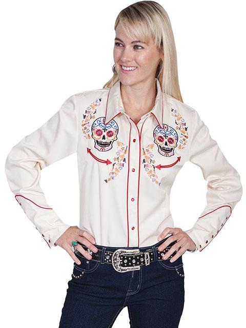 A Scully Ladies' Vintage Western Shirt: A Sugar Skull Embroidery Cream S-2XL